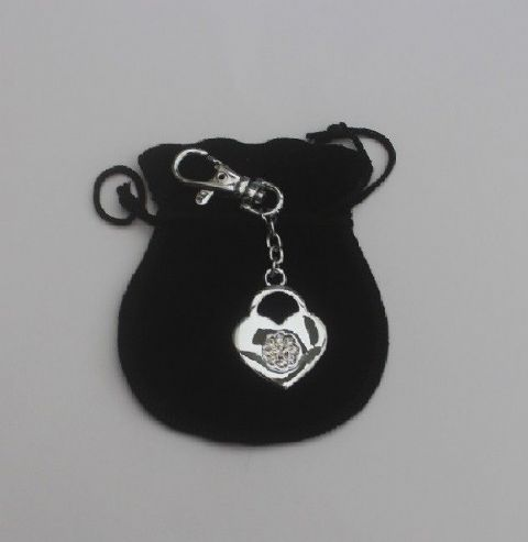 Witches Jailers lock charm with engraved name or message in  black velvet pouch